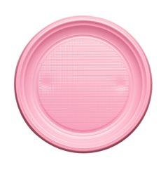 Assiette Plastique Plate Rose PS 170mm (50 Unités)