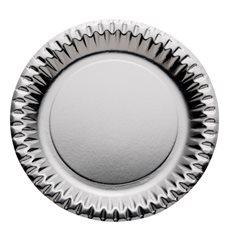 Assiette ronde Carton Argenté 230mm (10 Unités)