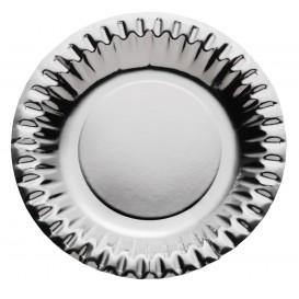 """Assiette ronde Carton """"Party"""" Argenté Ø180mm (10 Unités)"""