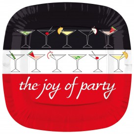 "Assiette Carton Carrée ""Joy of Party"" 230mm (8 Unités)"