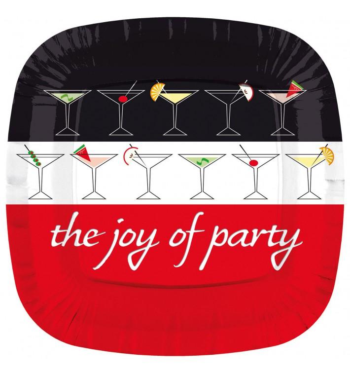 """Assiette Carton Carrée """"Joy of Party"""" 230mm (8 Unités)"""