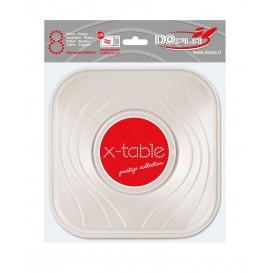 """Assiette Plastique PP """"X-Table"""" Carré Perle 180mm (8 Utés)"""