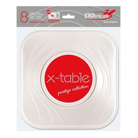 Assiette Plastique Carré Plate Perle PP 230mm (120 Unités)