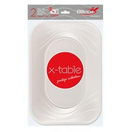 """Plateau Plastique PP """"X-Table"""" Perle 330x230mm (2 Utés)"""