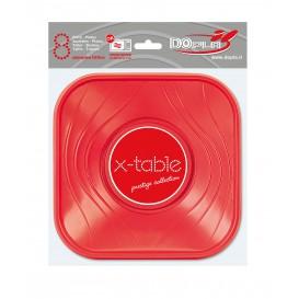 """Bol Plastique PP Carré """"X-Table"""" Rouge 18x18cm (120 Utés)"""