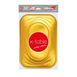 """Plateau Plastique PP """"X-Table"""" Or 330x230mm (2 Unités)"""
