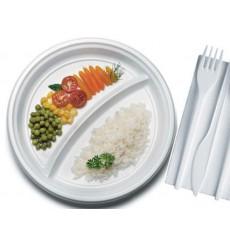 Assiette Plastique Plate Blanche PS 220 mm (1400 Unités)