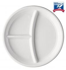 Assiette Plastique PS 3 Compartiments 220mm (100 Unités)