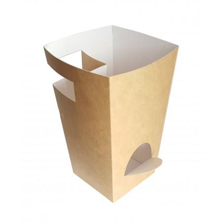 Boîte Carton pour Churros avec Chocolat Kraft 78x78x179mm (20 Uds)