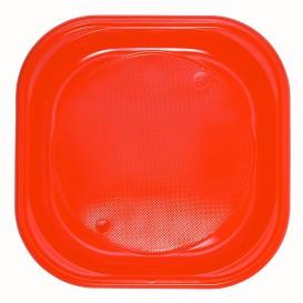 Assiette Plastique PS Carrée Plate Orange 200x200mm (720 Unités)