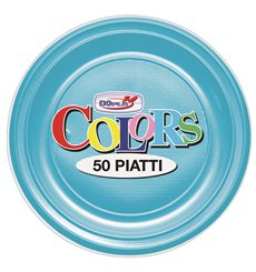 Assiette Plastique PS Plate Turquoise Ø170mm (50 Unités)