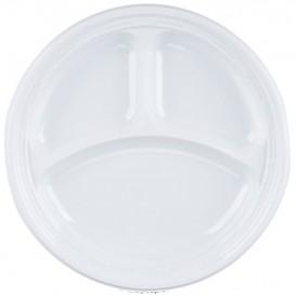 """Assiette en Plastique PS """"Famous Impact"""" 3 C. Blanc Ø230mm (500 Unités)"""