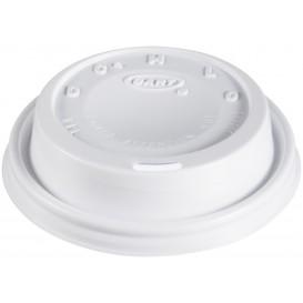 """Couvercle plastique PS """"Cappuccino"""" Blanc Ø8,1cm (100 Unités)"""