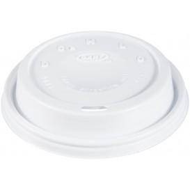 """Couvercle plastique PS """"Cappuccino"""" Blanc Ø9,4cm (1000 Unités)"""