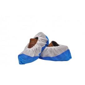 Surchaussures en PP Non Tissé Blanc Semelle PE Antidérapante Bleu (500 Utés)