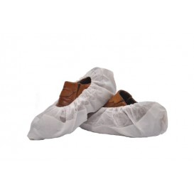 Surchaussures en PP Non Tissé Blanc Semelle PE Antidérapante Blanc (50 Utés)