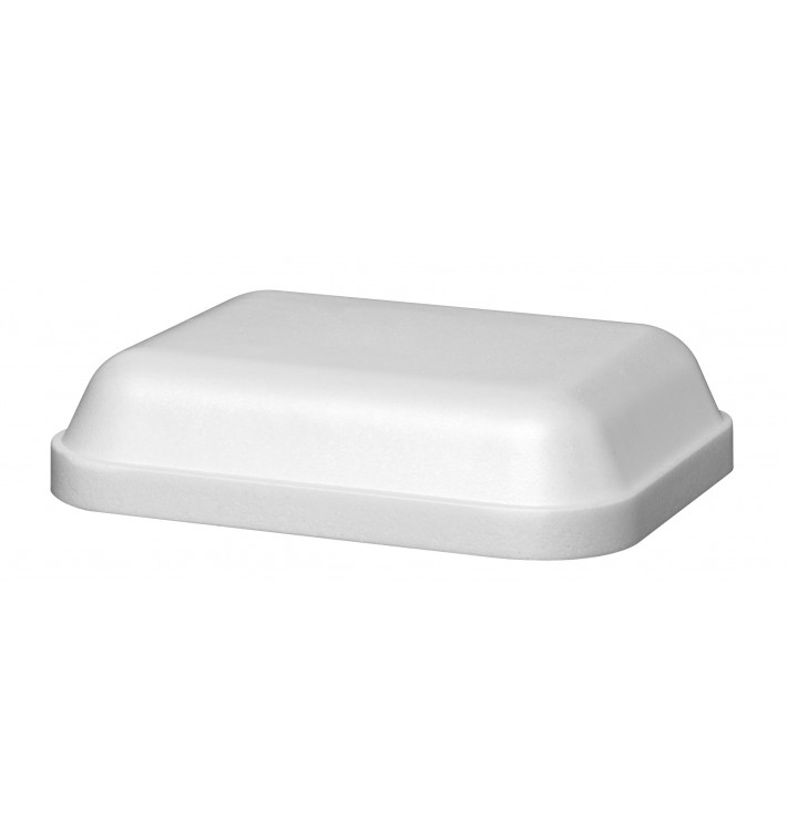 Couvercle pour Barquette Rectangulaire Foam Blanc 430ml (500 Unités)