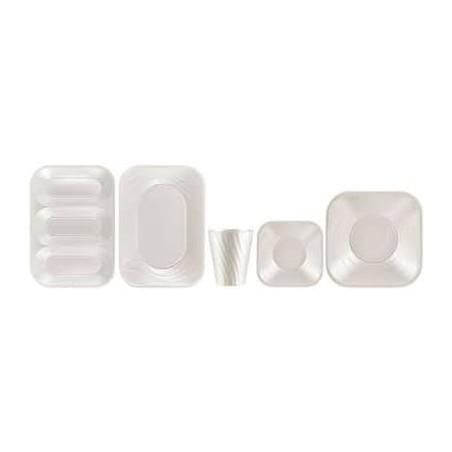 """Assiette Plastique PP """"X-Table"""" Carré Plate Perle 230mm (120 Unités)"""