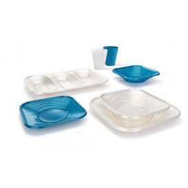 """Assiette Plastique PP """"X-Table"""" Carré Perle 180mm (120 Utés)"""