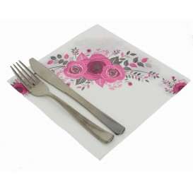 """Serviette en papier molletonnée """"Bouquet"""" 40x40cm (50 Unités)"""