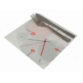 """Serviette en papier molletonnée """"TicTac"""" 40x40cm (50 Unités)"""