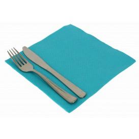 Serviette Papier Molletonnée Turquoise 40x40cm (50 Utés)