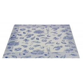 """Set de Table 30x40 """"Fruits de Mer"""" Bleu 50g (500 Utés)"""