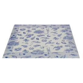 """Set de Table 30x40cm """"Fruits de Mer"""" Bleu 50g (2500 Utés)"""