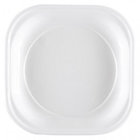 Assiette Plastique PS Carrée Dur Blanc 200x200mm (1000 Utés)
