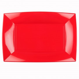 Plateau Plastique Rouge Nice PP 345x230mm (6 Utés)
