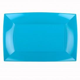 Plateau Plastique Turquoise Nice PP 345x230mm (6 Utés)