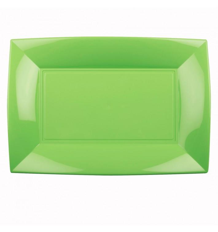 Plateau Plastique Vert citron Nice PP 345x230mm (60 Utés)