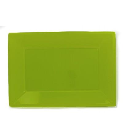 Plateau Plastique Pistache Rectang. 330x225mm (3 Utés)