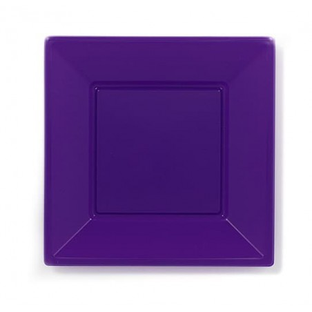 Assiette Plastique Carrée Plate Lilas 170mm (750 Unités)