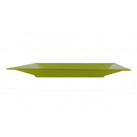Assiette Plastique Carrée Plate Pistache 170mm (5 Utés)
