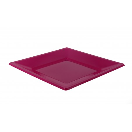Assiette Plastique Carrée Plate Fuchsia 170mm (25 Utés)