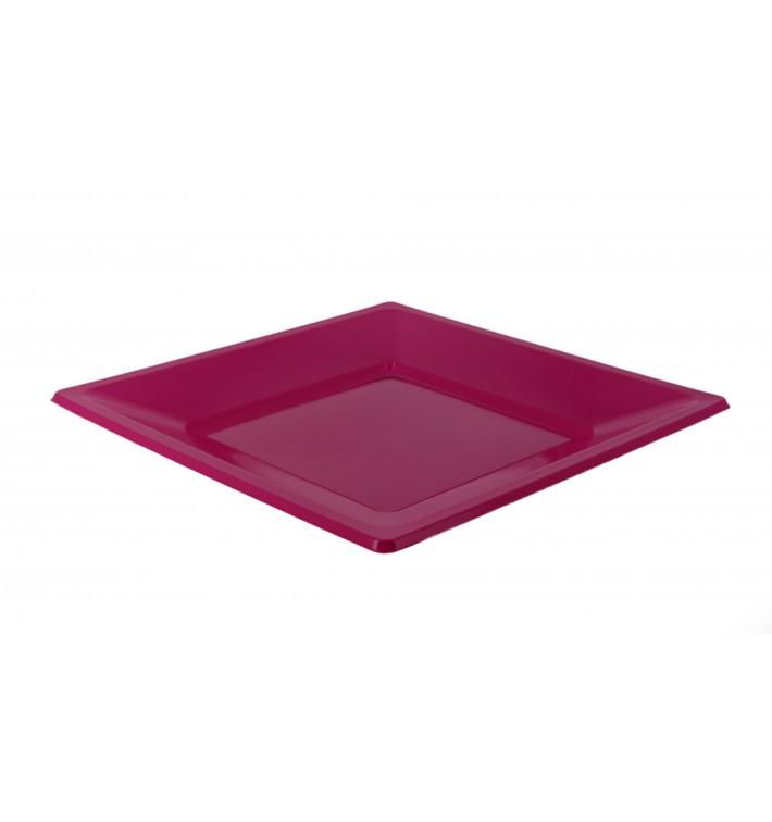 Assiette Plastique Carrée Plate Fuchsia 170mm (750 Utés)