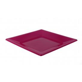Assiette Plastique Carrée Plate Fuchsia 230mm (180 Utés)