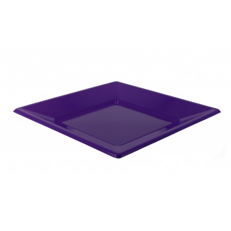 Assiette Plastique Carrée Plate Lilas 170mm (25 Unités)