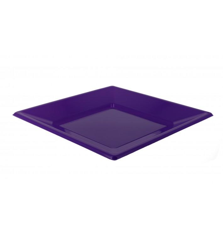 Assiette Plastique Carrée Plate Lilas 230mm (25 Unités)