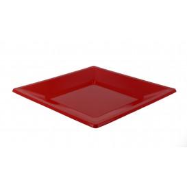 Assiette Plastique Carrée Plate Rouge 170mm (5 Unités)