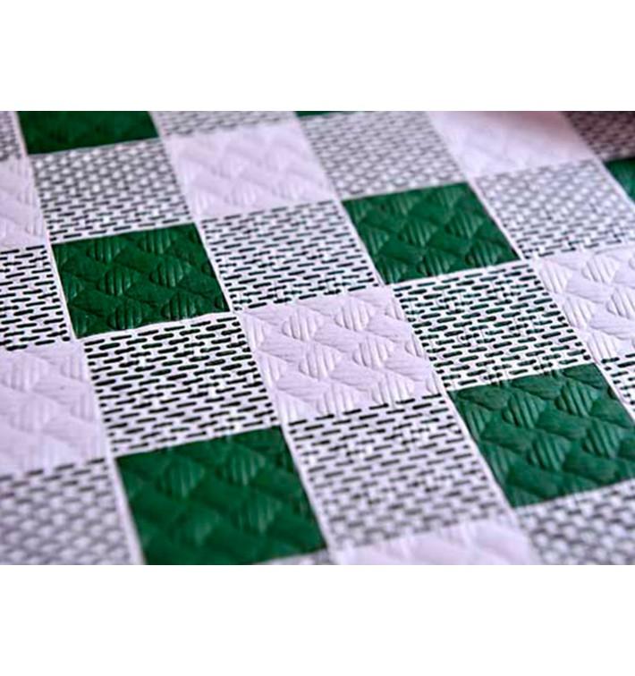 """Nappe en papier 1x1m """"Carrés Verts"""" 40g (400 Unités)"""