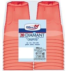 """Gobelet Shot """"Diamant"""" PS Cristal Rouge 50ml (20 Utés)"""