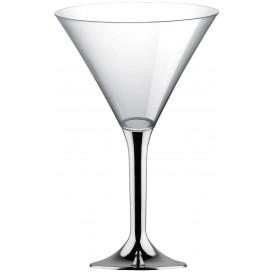 Flûte Plastique Cocktail Pied Argent Chrome 185ml 2P (20 Utés)
