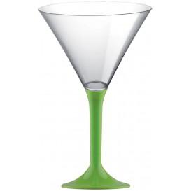 Flûte Plastique Cocktail Pied Vert citron 185ml 2P (200 Utés)