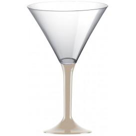 Flûte Plastique Cocktail Pied Beige 185ml 2P (20 Utés)