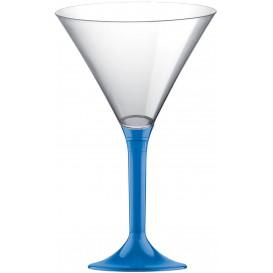 Flûte Plastique Cocktail Pied Bleu Tranps. 185ml 2P (20 Utés)