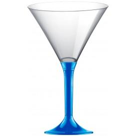 Flûte Plastique Cocktail Pied Bleu Mediterranée 185ml 2P (200 Utés)