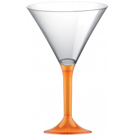 Flûte Plastique Cocktail Pied Orange Trans. 185ml 2P (20 Utés)