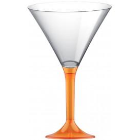 Flûte Plastique Cocktail Pied Orange Trans. 185ml 2P (20 Utés)